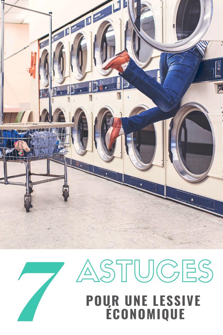 Affiche pinterest de sept astuces économiques pour la lessive