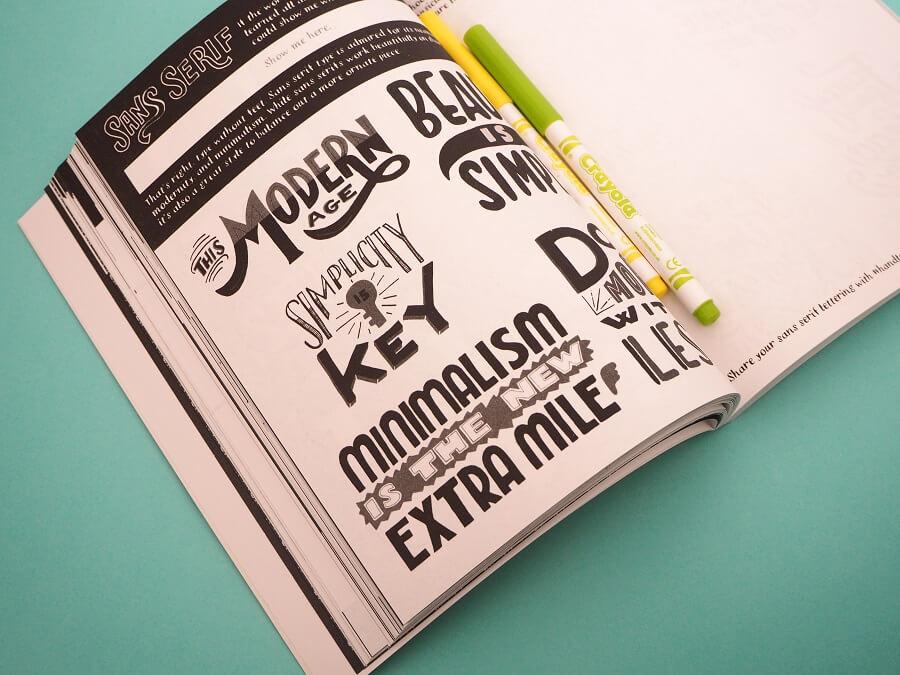 Livre sur le lettrage et feutres Crayola
