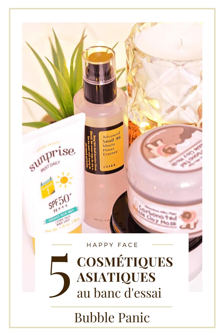 Revue de 5 cosmétiques coréens.